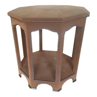 Morrocan-Style Octagonal Leather Accent Table For Sale