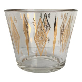 Mid-Century Modern Vintage Culver Cuv76 Glass Open Ice Bucket With 22k Gold Diamond Design For Sale
