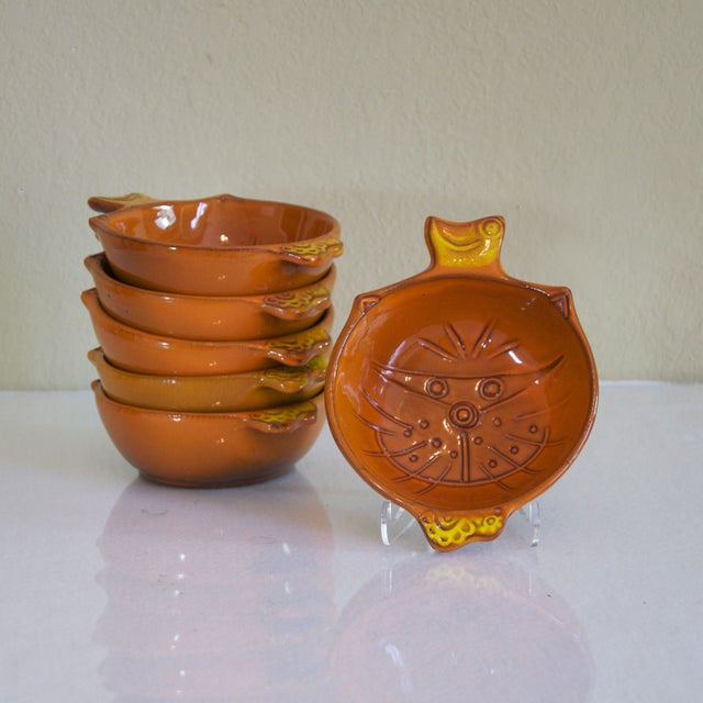 Vintage Orange Kitty Face Pottery Bowls - Set of 6 - Image 5 of 5