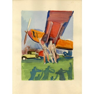 """L'Aviation"" (The Aviation). Original Sports Print From Croatian Artist Milivoj Uzelac. For Sale"