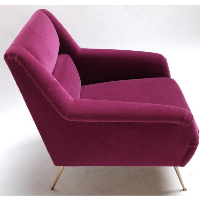 1960s Italian Style Fuchsia Mohair and Brass Armchairs - a Pair For Sale - Image 4 of 9