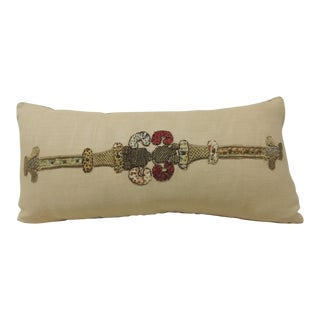 18th Century Red Embroidered Linen Applique Long Bolster Decorative Pillow For Sale