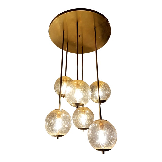Mid-century modern 6-clear glass globes brass flush mount light, attr to Venini For Sale