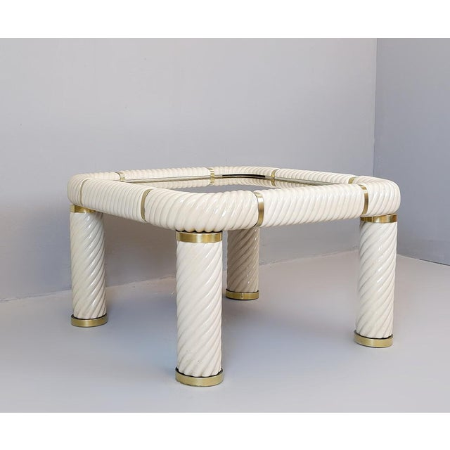 Brass 1970s Tommaso Barbi Ceramic and Brass Coffee Table For Sale - Image 8 of 8