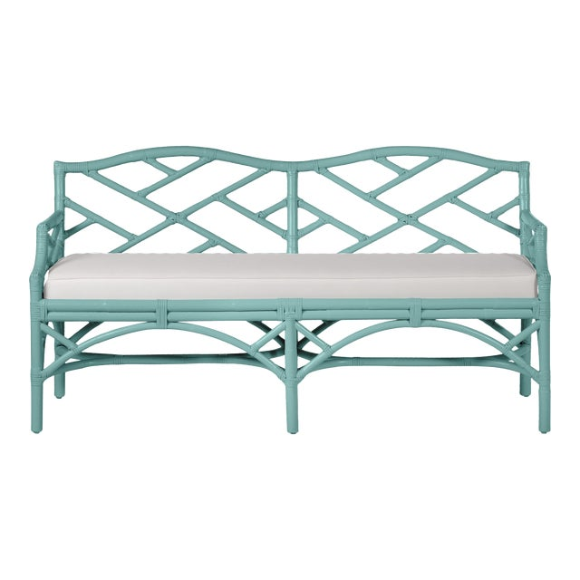 Chippendale Bench - Turquoise For Sale