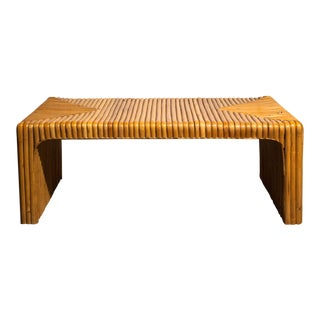 Circa 1950 Vintage Japanese Rattan Waterfall Coffee Table For Sale