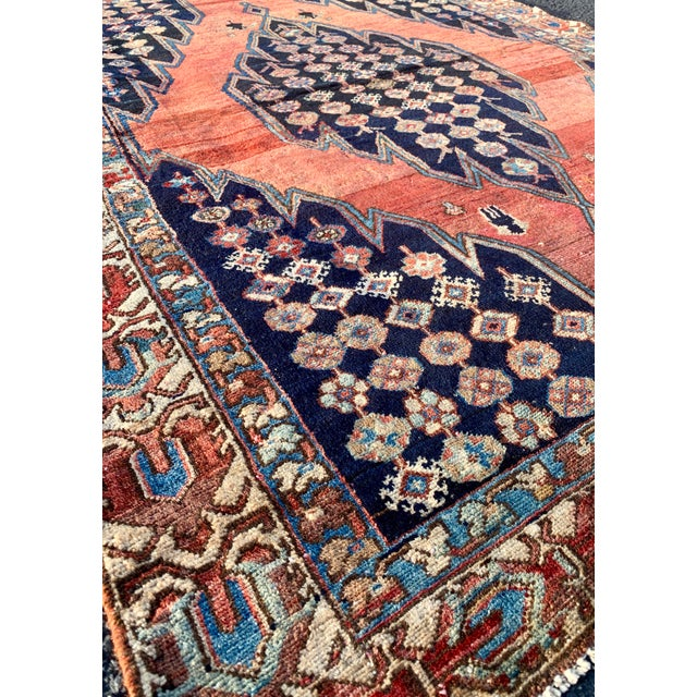 Islamic 1930s Vintage Persian Mazlaghan Rug - 4′5″ × 5′10″ For Sale - Image 3 of 12