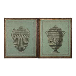 Hand Painted Italian Style Urn Architectural Panels - A Pair