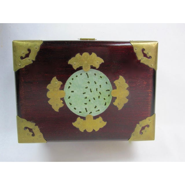 Green Antique Chinese Jewelry Boxes With Jade - Set of 3 For Sale - Image 8 of 9