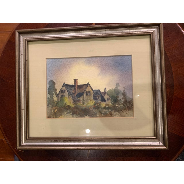 Wood A. F. White Original English Cottage Watercolor Painting, Framed For Sale - Image 7 of 7