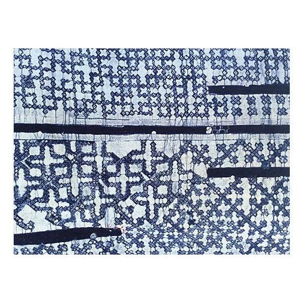 Hand Woven Indigo Batik W/ Cross Motif - 6.8 Yards - Image 2 of 2