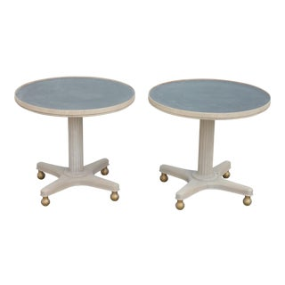 Mid-Century Modern Gray Wooden Round Tables - a Pair