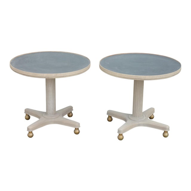 Mid-Century Modern Gray Wooden Round Tables - a Pair For Sale
