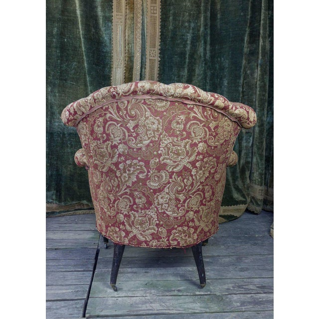 Pair of Tufted and Scrolled Back Armchairs For Sale - Image 10 of 11