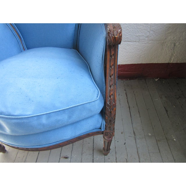 Blue 1940s Antique Petite French Blue Upholstery Carved Walnut Frame Fireside Chairs or Bergeres- a Pair For Sale - Image 8 of 13