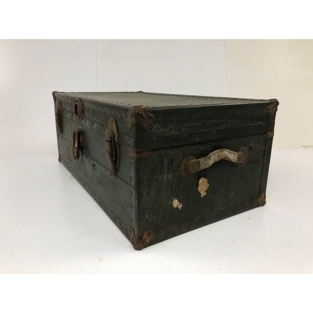 Industrial Vintage Industrial Green Wood Military Foot Locker Trunk W Tray For Sale - Image 3 of 13