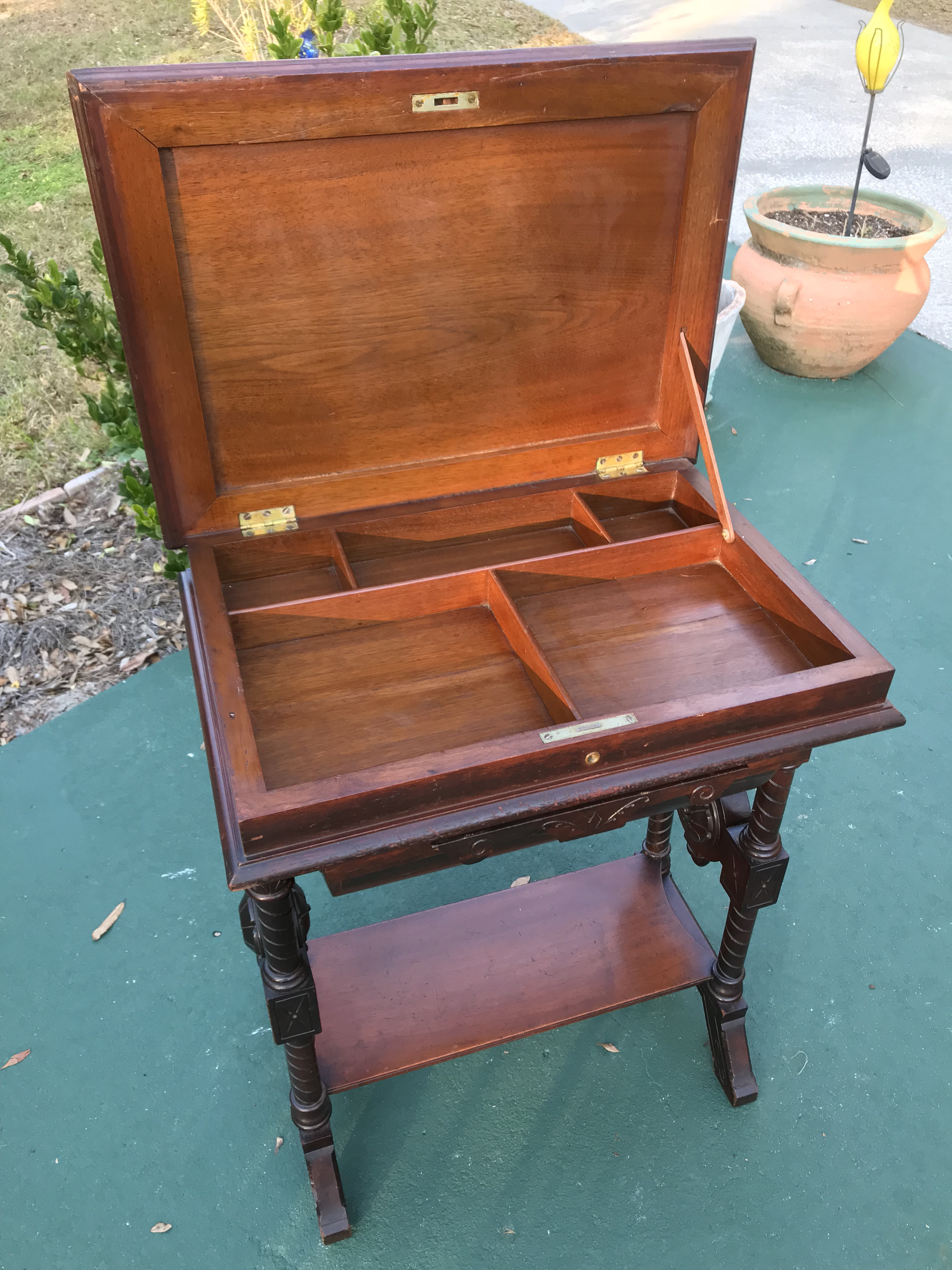 Antique Sewing Cabinet Or Game Table Chairish