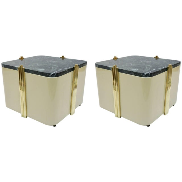 1970s Italian Cream White Lacquered & Green Marble Side Tables or Stools - a Pair For Sale - Image 10 of 10