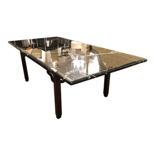 Negro Marquino Marble Slab Glass Top Rosewood Base Table For Sale