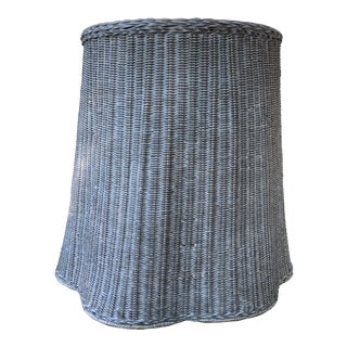 Trompe l'Oeil Round Top Draped Grey Rattan Side Table For Sale