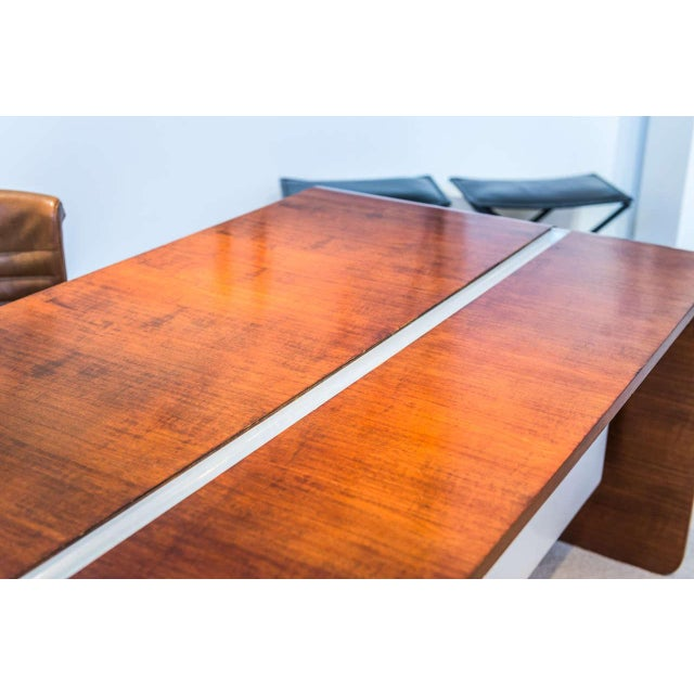 Mid-Century Modern Michel Boyer Walnut and Formica Waterfall Desk For Sale - Image 3 of 11