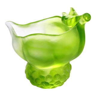 """Crystal """"Propitious Abundance"""" Limited Edition Peas Desk Decor in Clear Green For Sale"""