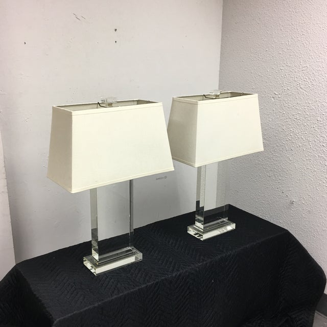 Contemporary Restoration Hardware Crystal Pier Table Lamps - A Pair For Sale - Image 3 of 7