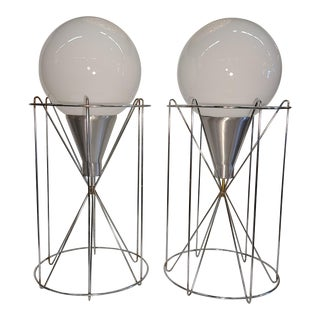 Pair of Mid-Century Cage Lamps With Milk Glass Globes. For Sale