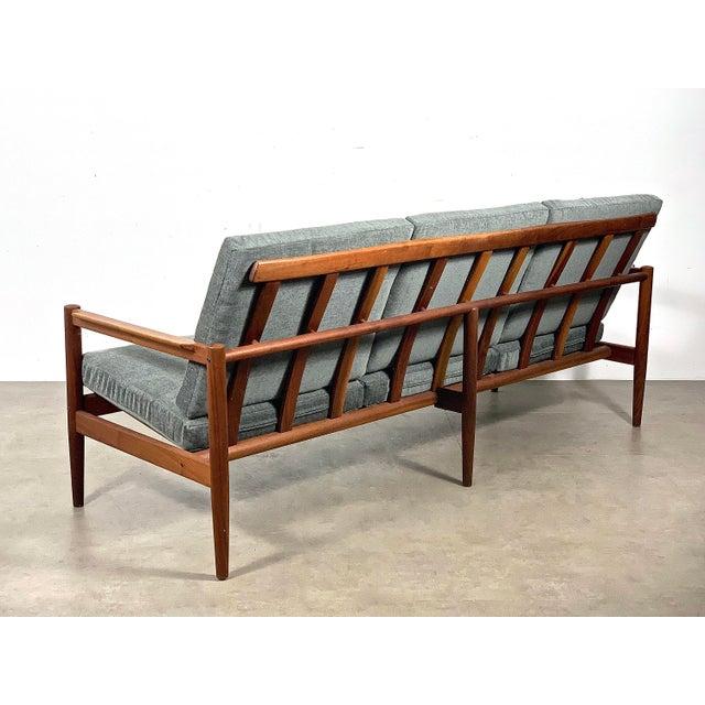 Danish Modern 1950s Vintage Borge Jensen Teak Frame Gray Three Seat Sofa For Sale - Image 3 of 11