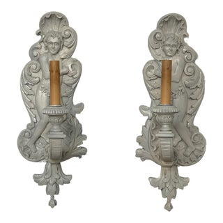Vintage Carved Italian Wood Shell Sconces - a Pair For Sale