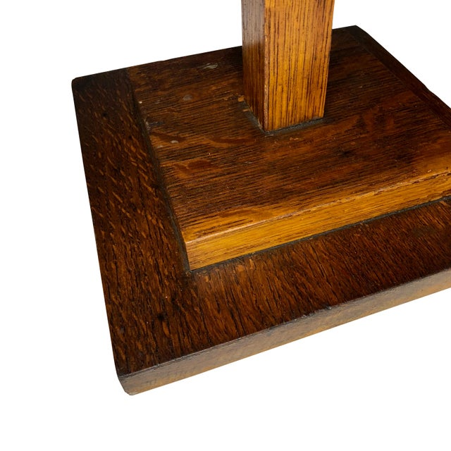 20th Century Arts & Crafts Mission Oak Revolving Necktie Jewelry Display Rack For Sale - Image 9 of 11
