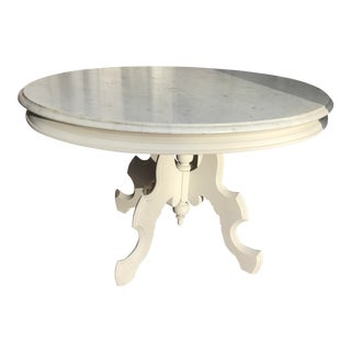 19th Century Victorian Oval Marble Top Eastlake Style Coffee Table For Sale