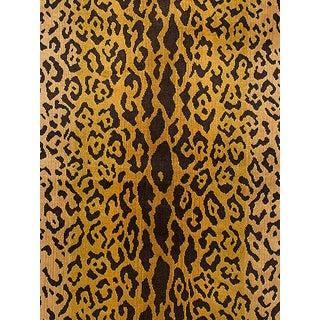 Sample, Scalamandre Leopardo Ivory Gold & Black Fabric For Sale