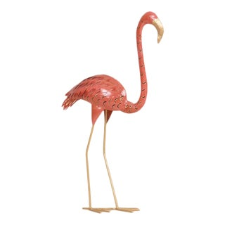 Ornamental Metal Pink Flamingo Sculpture For Sale