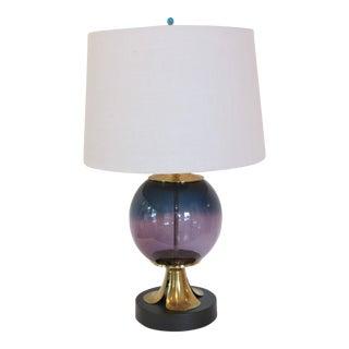 Custom Made Blown Glass Lamp on Brass Base by C. Damien Fox