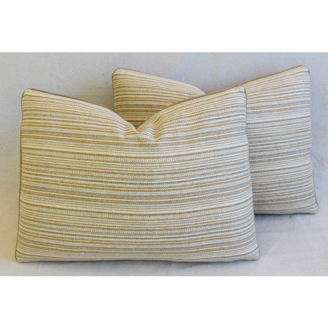 "Scottish Hodsoll McKenzie Wool Stripe & Scalamandre Velvet Feather/Down Pillows 22"" X 16"" - Pair For Sale - Image 12 of 12"