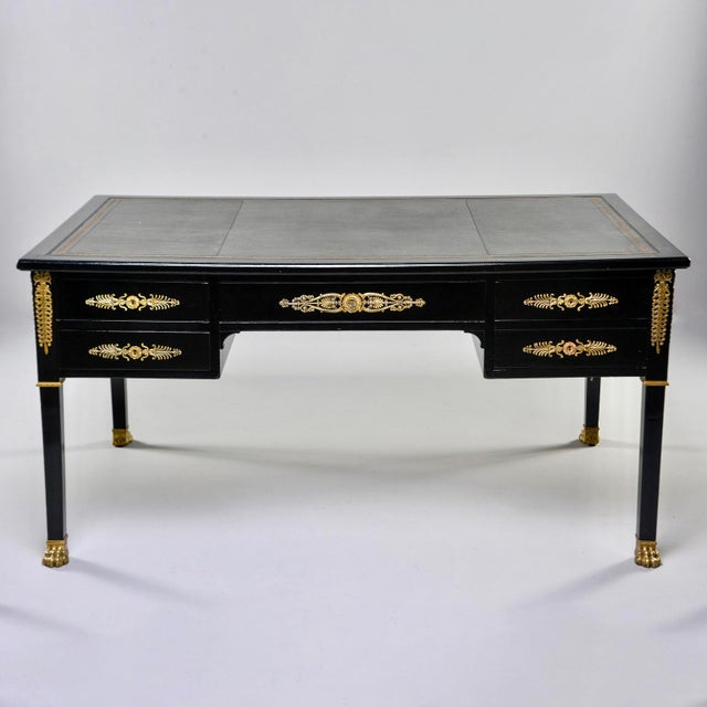 19th C Empire Style Partner's Desk With Orig Brass Fittings and New Leather Top For Sale - Image 13 of 13
