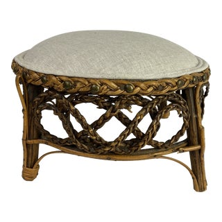 Early 20th Century English Rattan Stool For Sale