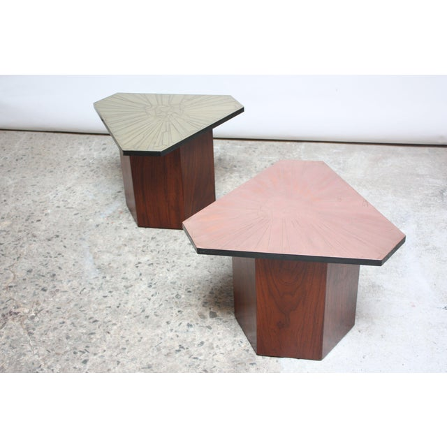 Pair of Italian Etched Copper and Brass Side Tables by G. Urso - Image 2 of 11