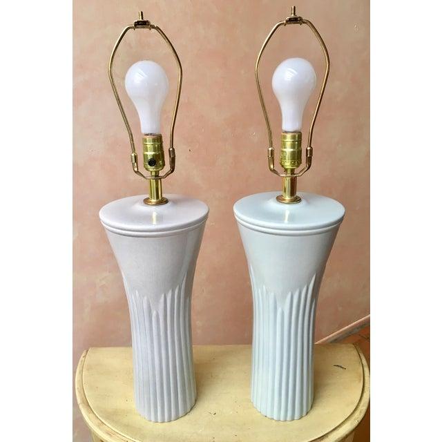 Art Deco Shades of Sea Foam Lamps - A Pair - Image 3 of 8