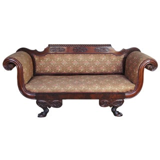 19th Century American Empire Carved Crotch Mahogany Sofa For Sale
