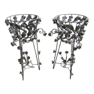 Early 19th Century French Patinated Iron Jardinières or Plant Stands - a Pair For Sale