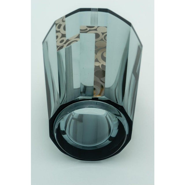 Metal 1920s Art Deco Crystal Vase With Silver Overlay For Sale - Image 7 of 9