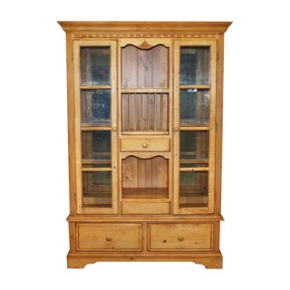 Country Pine Storage & Display Cabinet For Sale