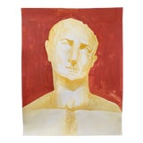 Image of Roman Emperor Trajan Bust Painting, Acrylic on Paper For Sale
