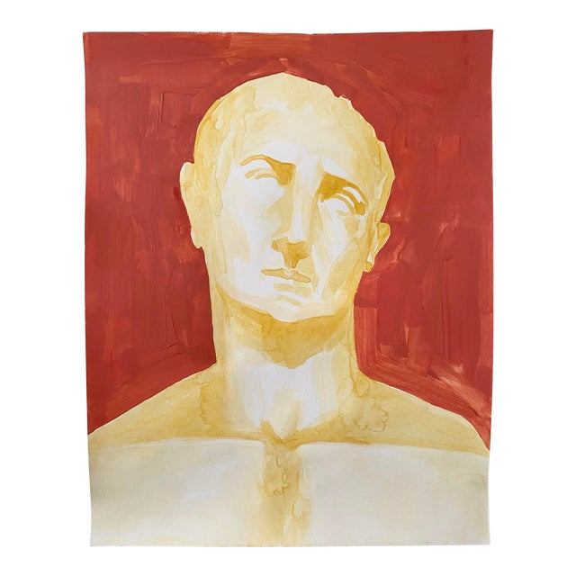 Roman Emperor Trajan Bust Painting, Acrylic on Paper For Sale