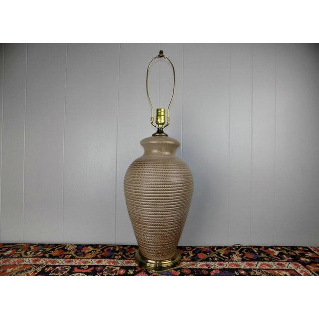 1970s Italian Incised Pottery Table Lamp For Sale - Image 13 of 13