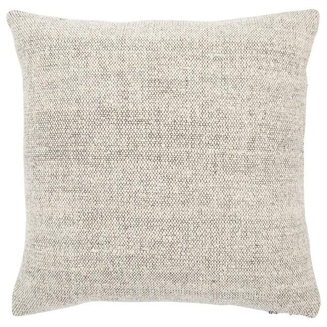 Cream and Grey patterned pillow cover by Jaipur Living. Same design on front and back of cover. Raw silk woven into a...