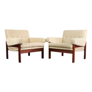Danish Mid Century Modern Lounge Chairs in Rosewood and Nubby Original Fabric - a Pair For Sale