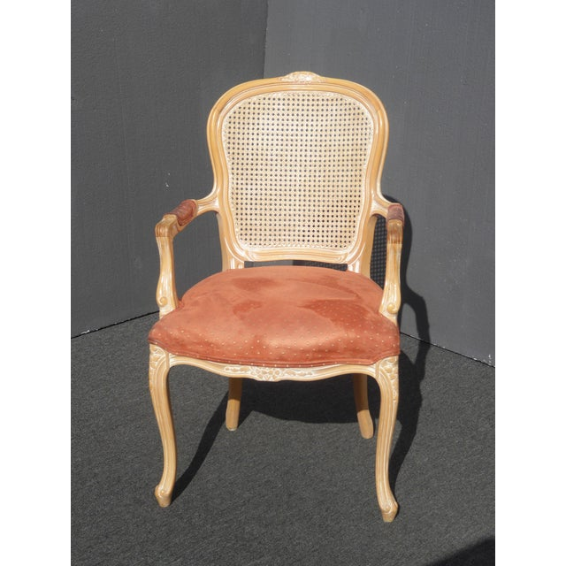 Vintage French Provincial Cane Back Off White Accent Chair Coral Fabric Gorgeous Chair in Great Vintage Condition. Solid...